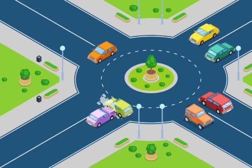 Verkehrsunfall - Kollision im Einfahrtsbereich eines Kreisverkehrs
